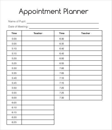 hourly appointment planner template