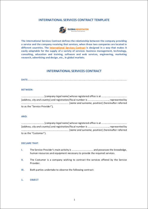 international service contract template