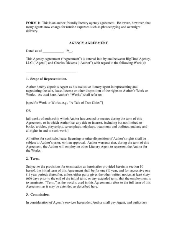 Agent Contract Agreement Images  Agreement Letter Format