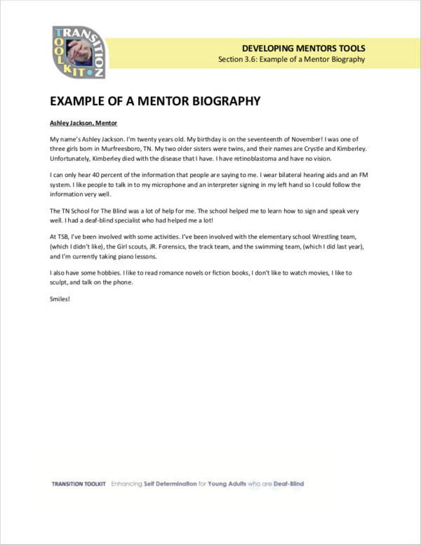 mentor biography example