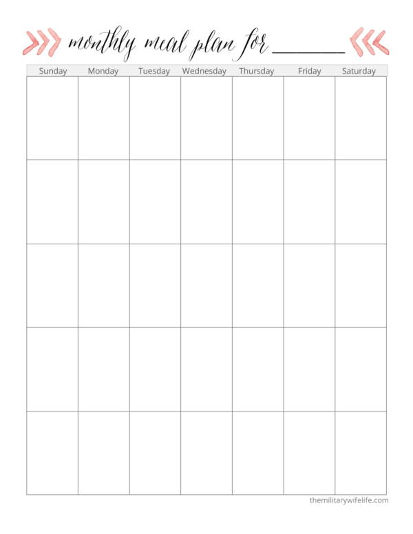 monthly dinner planner template