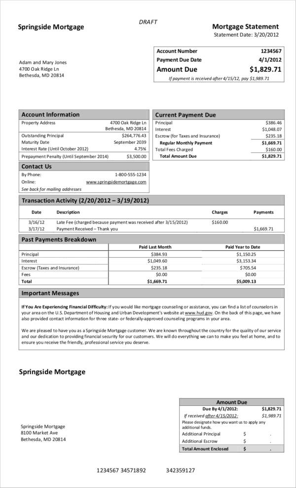 monthly mortgage statement sample