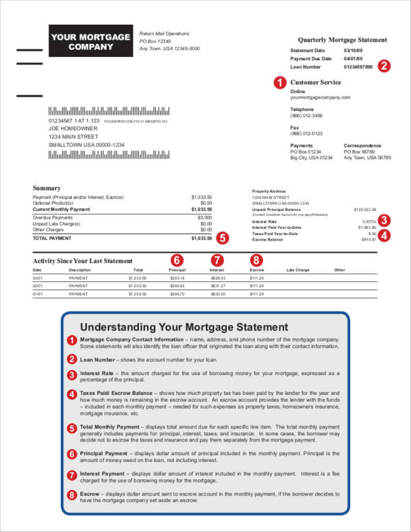 mortgage statement template 9  Mortgage Statement Samples and Templates – PDF | Sample Templates