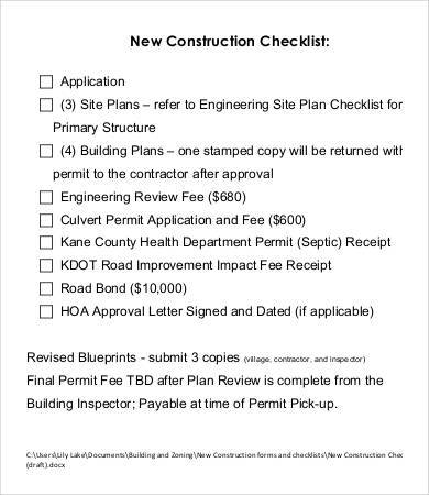 new construction checklist sample