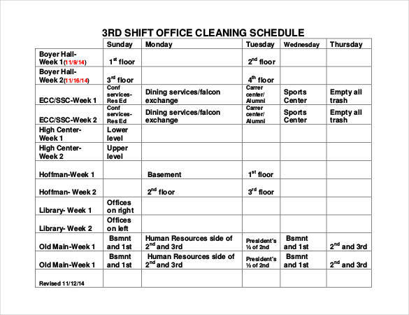 office cleaning shift schedule sample