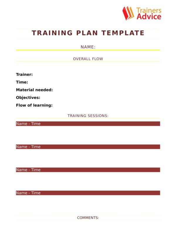 one page training planner template