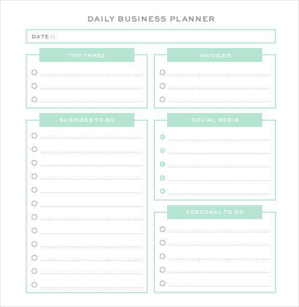 personal business planner template