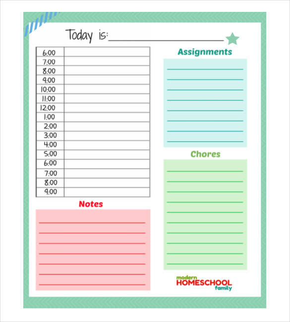 personal planner template for school kids