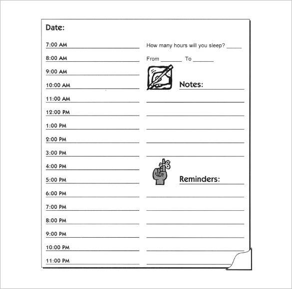 printable daily hourly planner template