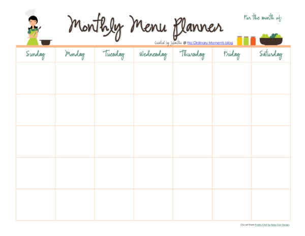 printable monthly dinner planner template