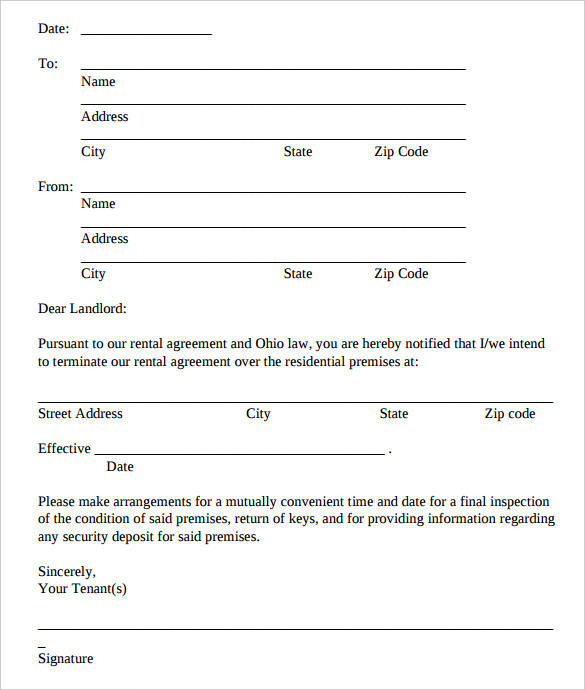 printable rental agreement termination letter template in pdf