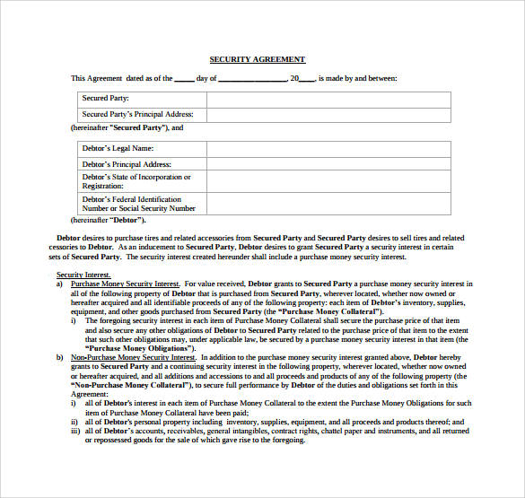 printable security agreement contract