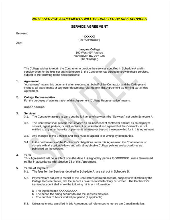 printable service contract template