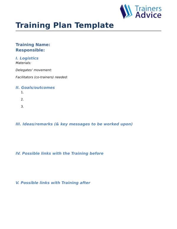 printable training planner sample