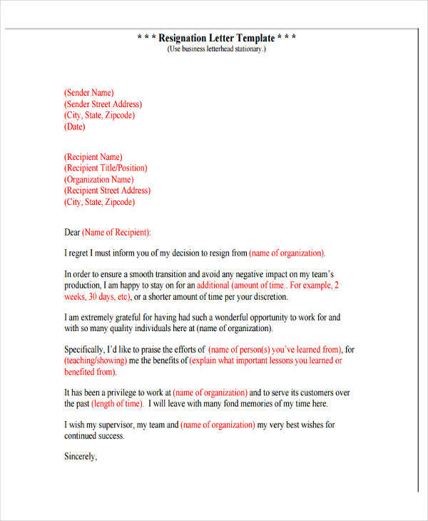 Professional Resignation Letter Template | 6 Resignation Letter With Regret Samples And Templates Pdf Word