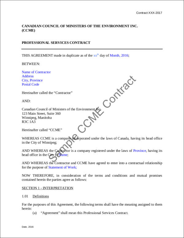 professional services contract sample