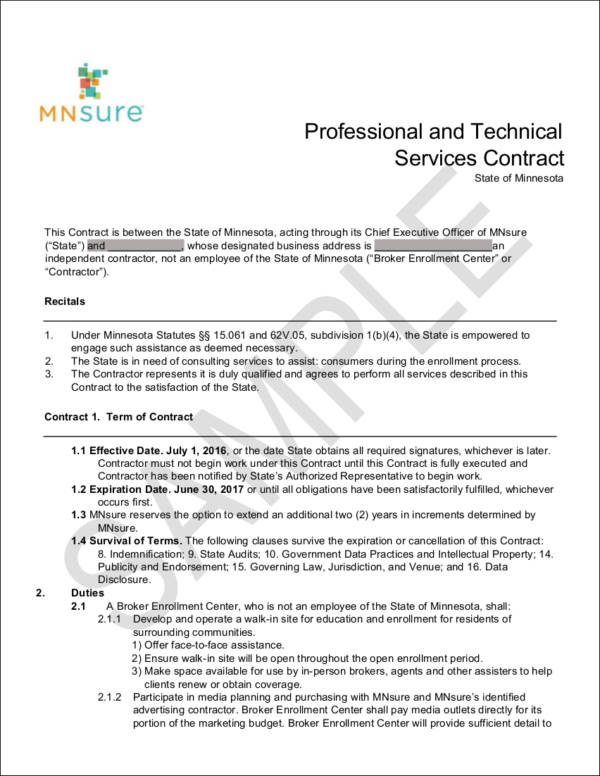 professional and technical services contract sample