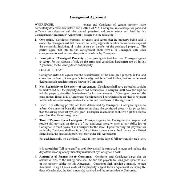 property consignment agreement contract template