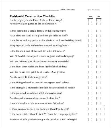 residential construction checklist sample
