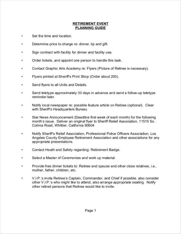 retirement party planner sample