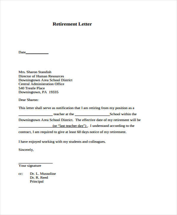 resignation letter samples retirement 6 retirement resignation letter samples and templates 10085