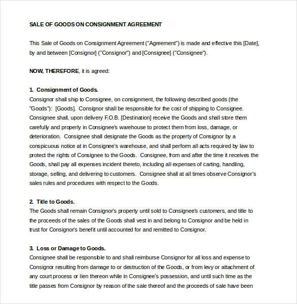 Consignment Contract Samples  Templates  Pdf Word