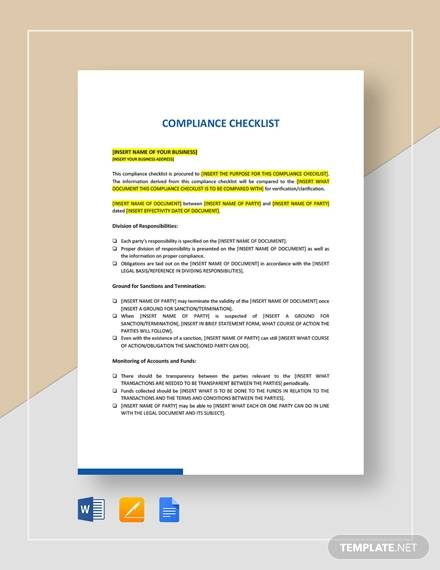 sample compliance checklist