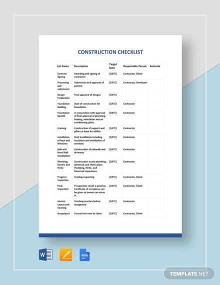 sample construction checklist template
