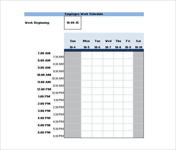 sample employee bi weekly work schedule template