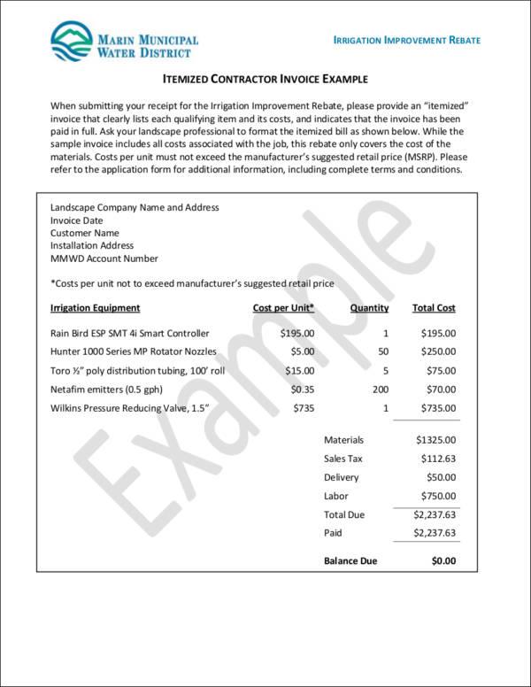 sample itemized contractor invoice