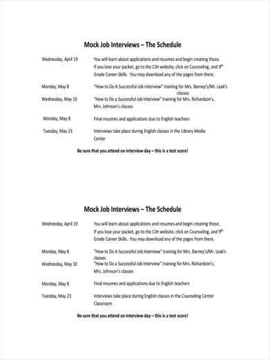 sample job interview schedule