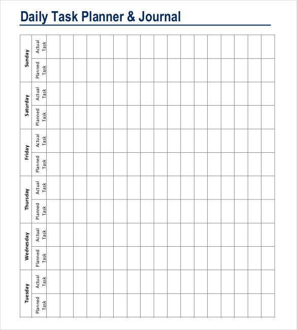 sample personal planner template and journal for daily tasks