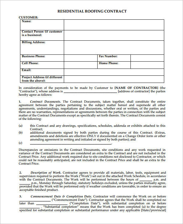 Roofing Contract Samples  Templates  Pdf Word