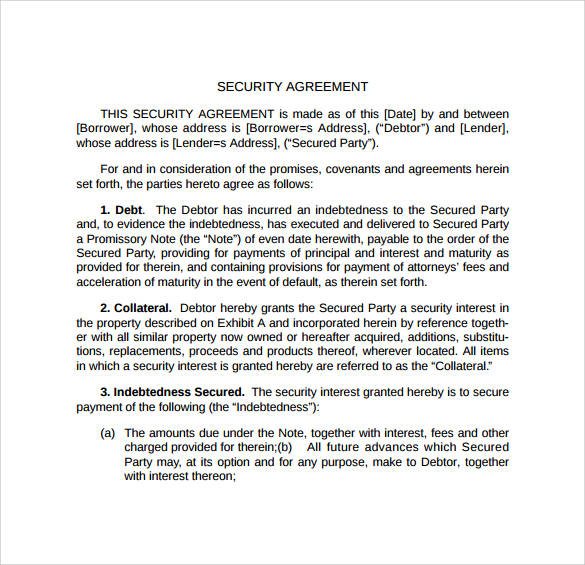 Security Agreement Sample Contracts Image Collections  Agreement