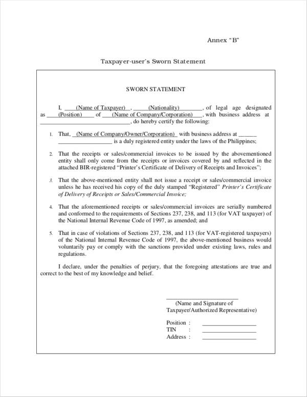 sworn statement templates - kak2tak.tk
