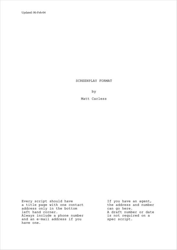 screenplay script format