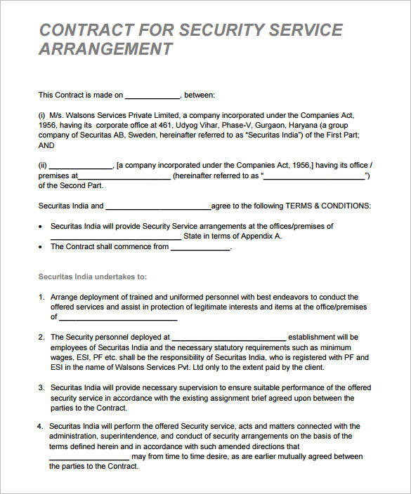 security contract template for serivce arrangment