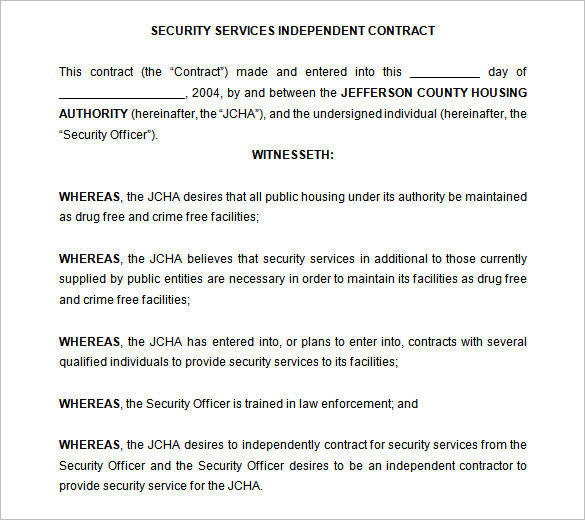 security services independent contract template