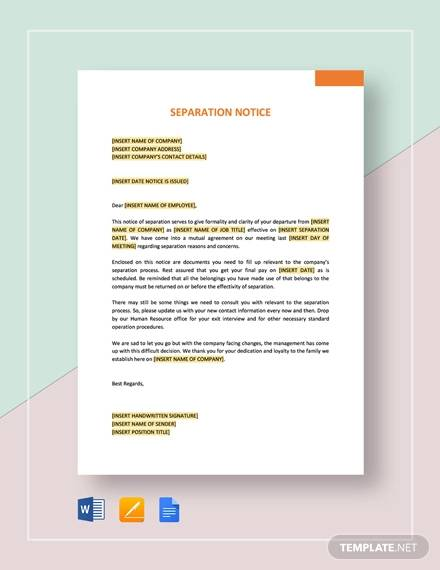 9  Separation Notice Templates