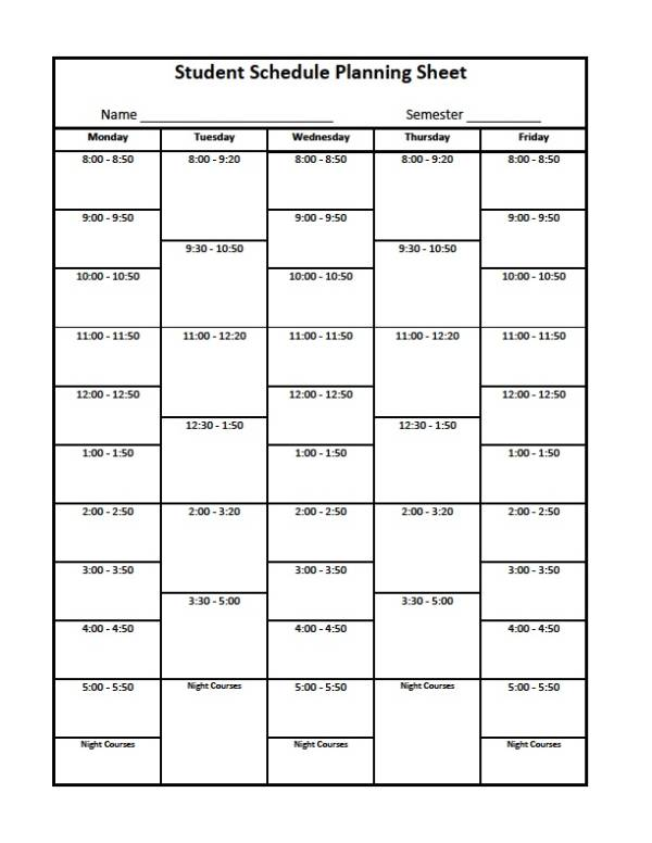 student schedule planner sample