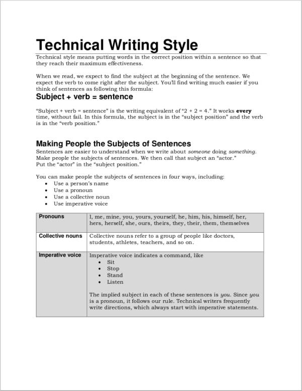 technical writing style study sheet