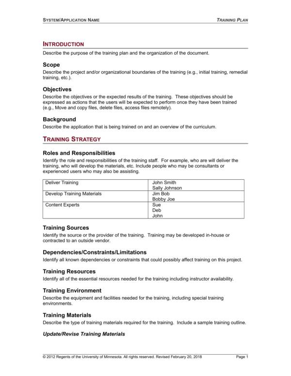 university services training planner sample