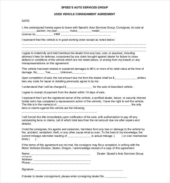 used vehicle consignment agreement contract template