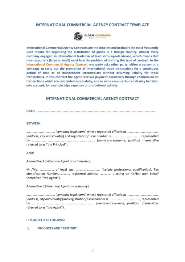 international commercial agency contract template sample