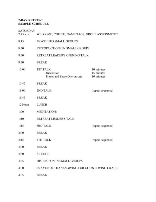 2 day group retreat schedule sample