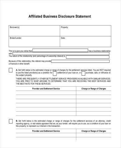 affiliated business disclosure sample
