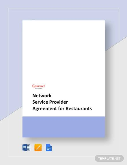 agreement with provider of restaurant network