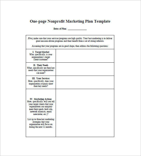 basic one page marketing plan tempalte