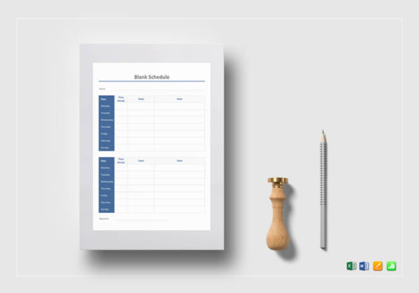 blank schedule template
