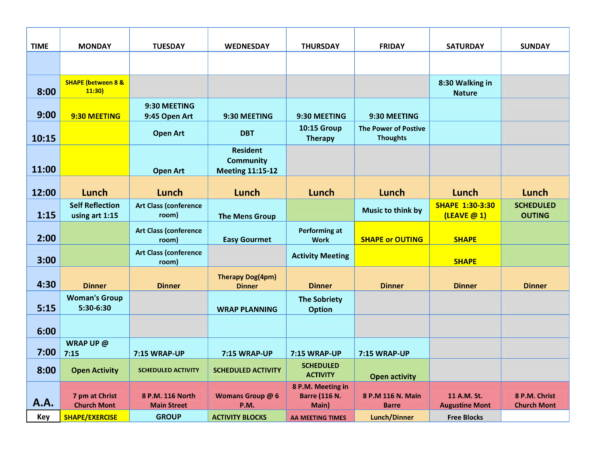 clinical group schedule sample